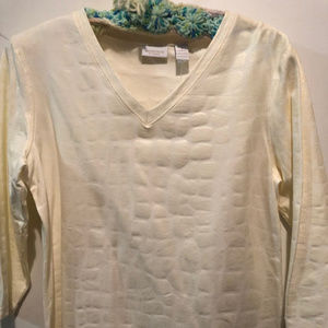 Ladies SHIRT TOP WHITE 3/4 sleeves by Chico's NWT